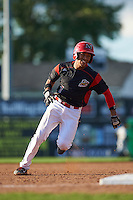 Batavia Muckdogs catcher Pablo Garcia (7) running the bases during a game against the West Virginia Black Bears on August 21, 2016 at Dwyer Stadium in Batavia, New York.  West Virginia defeated Batavia 6-5. (Mike Janes/Four Seam Images)