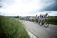 Wanty Groupe Gobert riders in front of the peloton. <br /> <br /> Circuit de Wallonie 2019<br /> One Day Race: Charleroi – Charleroi 192.2km (UCI 1.1.)<br /> Bingoal Cycling Cup 2019