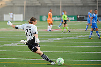 Sky Blue FC goalkeeper Jenni Branam (23). Sky Blue FC defeated the Boston Breakers 2-1 during a WPS regular season match at Harvard Stadium in Boston, MA, on July 12, 2009.