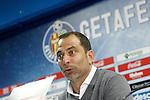 Getafe's coach Juan Eduardo Esnaider in press conference after La Liga match. April 16,2016. (ALTERPHOTOS/Acero)