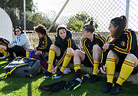 20190228 - LARNACA , CYPRUS : Belgian assistant coach Tamara Cassimon , Kassandra Missipo , Heleen Jaques , Laura Deloose and Laura De Neve (r) pictured during a Matchday -1 training from The Belgian Red Flames prior to their game against the women team of Austria , on Thursday 28 February 2019 at the Alpha Sports Grounds in Larnaca , Cyprus . This will be the second game in group C for Belgium during the Cyprus Womens Cup 2019 , a prestigious women soccer tournament as a preparation on the European Championship 2021 qualification duels. PHOTO SPORTPIX.BE | DAVID CATRY