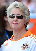 April 28, 2013: Houston Mayor Annise Parker before Major League Soccer match in Houston  TX. Houston Dynamo draw 1-1 against Colorado Rapids.
