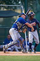 Toronto Blue Jays catcher Ryan Hissey (33) throws down to second in front of Ozhaino Albies (7) during an instructional league game against the Atlanta Braves on September 30, 2015 at the ESPN Wide World of Sports Complex in Orlando, Florida.  (Mike Janes/Four Seam Images)