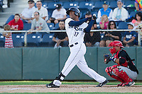 Phillips Castillo #17 of the Everett AquaSox at bat against the Vancouver Canadians at Everett Memorial Stadium in Everett, Washington on July 9, 2014.  Everett defeated Vancouver 9-4.  (Ronnie Allen/Four Seam Images)