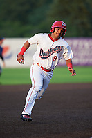 Auburn Doubledays Adalberto Carrillo (8) running the bases during a NY-Penn League game against the Connecticut Tigers on July 12, 2019 at Falcon Park in Auburn, New York.  Auburn defeated Connecticut 7-5.  (Mike Janes/Four Seam Images)