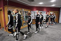 Wednesday, 23 April 2014<br /> Pictured: Players exiting a pre-training meeting.<br /> Re: Swansea City FC are holding an open training session for their supporters at the Liberty Stadium, south Wales,