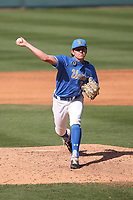 Jake Brooks (34) of the UCLA Bruins pitches against the Arizona Wildcats at Jackie Robinson Stadium on March 20, 2021 in Los Angeles, California. Arizona defeated UCLA, 7-3. (Larry Goren/Four Seam Images)