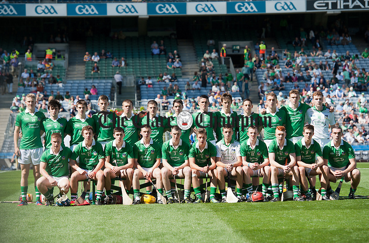 The Limerick team before the Minor All-Ireland semi final game against Galway in Croke Park. Photograph by John Kelly.