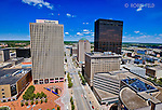 Downtown Dayton Ohio, Main Street view. Cityscape image of downtown