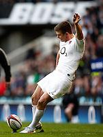 Photo: Richard Lane/Richard Lane Photography. England v Wales. 25/02/2012. England's Owen Farrell kicks.