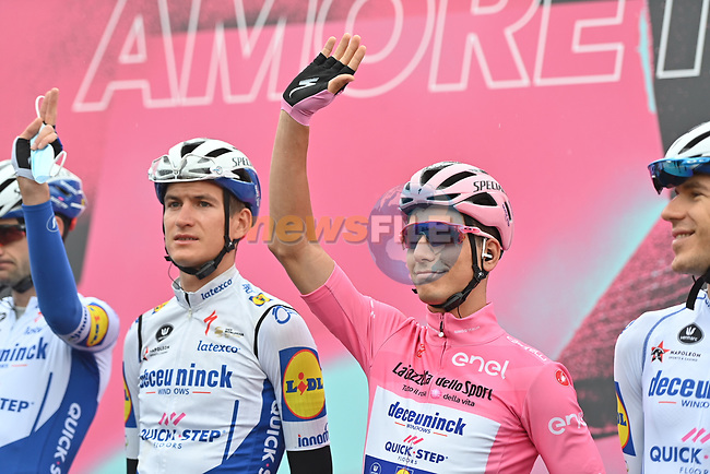 Race leader Maglia Rosa Joao Almeida (POR) Deceuninck-Quick Step at sign on before the start of Stage 9 of the 103rd edition of the Giro d'Italia 2020 running 208km from San Salvo to Roccaraso (Aremogna), Sicily, Italy. 11th October 2020.  <br /> Picture: LaPresse/Gian Mattia D'Alberto | Cyclefile<br /> <br /> All photos usage must carry mandatory copyright credit (© Cyclefile | LaPresse/Gian Mattia D'Alberto)