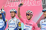 Race leader Maglia Rosa Joao Almeida (POR) Deceuninck-Quick Step at sign on before the start of Stage 9 of the 103rd edition of the Giro d'Italia 2020 running 208km from San Salvo to Roccaraso (Aremogna), Sicily, Italy. 11th October 2020.  <br /> Picture: LaPresse/Gian Mattia D'Alberto   Cyclefile<br /> <br /> All photos usage must carry mandatory copyright credit (© Cyclefile   LaPresse/Gian Mattia D'Alberto)