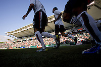 USA national team players run onto the field. The USA defeated Denmark 3-1 in an International friendly at the Home Depot Center in Carson, CA on January 20, 2007.