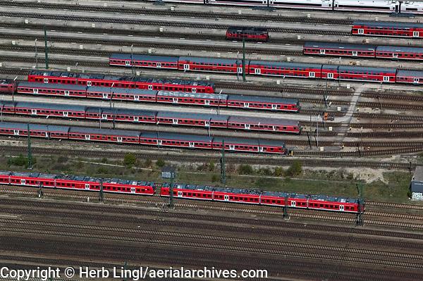 aerial photograph of Deutsche Bahn rail cars at the main rail station, Munich,  Germany | Luftaufnahme von Eisenbahnwagen der Deutschen Bahn am Hauptbahnhof, München, Deutschland