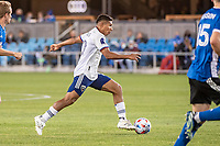 SAN JOSE, CA - MAY 01: Edison Flores #10 of DC United dribbles the ball during a game between San Jose Earthquakes and D.C. United at PayPal Park on May 01, 2021 in San Jose, California.