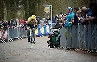 Maarten Tjallingii (NLD/LottoNL-Jumbo) solo up the Kemmelberg as race leader<br /> <br /> 77th Gent-Wevelgem 2015