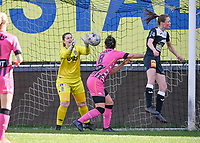 goalkeeper Laurie Filleur of Charleroi pictured saving an attempt from Loes Van Mullem (33) of Eendracht Aalst during a female soccer game between Eendracht Aalst and Sporting Charleroi on the 18 th and last matchday before the play offs of the 2020 - 2021 season of Belgian Scooore Womens Super League , Saturday 27 th of March 2021  in Aalst , Belgium . PHOTO SPORTPIX.BE | SPP | DAVID CATRY