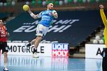 Marcel Schiller (FAG) beim Tempogegenstoß beim Spiel in der Handball Bundesliga, Frisch Auf Goeppingen - Fuechse Berlin.<br /> <br /> Foto © PIX-Sportfotos *** Foto ist honorarpflichtig! *** Auf Anfrage in hoeherer Qualitaet/Aufloesung. Belegexemplar erbeten. Veroeffentlichung ausschliesslich fuer journalistisch-publizistische Zwecke. For editorial use only.