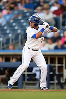 Tulsa Drillers shortstop Cristhian Adames (2) at bat during a game against the Midland RockHounds on May 30, 2014 at ONEOK Field in Tulsa, Oklahoma.  Tulsa defeated Midland 7-1.  (Mike Janes/Four Seam Images)