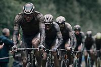 Mathieu van der Poel (NED/Alpecin Fenix) through the Arenberg Forest / Trouée d'Arenberg / Bois de Wallers<br /> <br /> 118th Paris-Roubaix 2021 (1.UWT)<br /> One day race from Compiègne to Roubaix (FRA) (257.7km)<br /> <br /> ©kramon