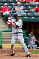 Roberto Lopez (20) of the Arkansas Travelers at bat during a game against the Springfield Cardinals on May 10, 2011 at Hammons Field in Springfield, Missouri.  Photo By David Welker/Four Seam Images.