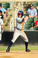 Kyle Wren (16) of the Rome Braves at bat against the Kannapolis Intimidators at CMC-Northeast Stadium on August 25, 2013 in Kannapolis, North Carolina.  The Intimidators defeated the Braves 9-0.  (Brian Westerholt/Four Seam Images)