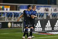 SAN JOSE, CA - SEPTEMBER 13: Andy Rios #25 of the San Jose Earthquakes celebrates a goal that would be waved off during a game between Los Angeles Galaxy and San Jose Earthquakes at Earthquakes Stadium on September 13, 2020 in San Jose, California.
