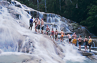 Tourists forming human chain, Dunn's River Falls, Ocho Rios, Jamaica, January 2005