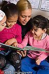 Preschool parent volunteer reading to group of children