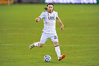 WASHINGTON, DC - SEPTEMBER 27: Tommy McNamara #26 of New England Revolution moves the ball during a game between New England Revolution and D.C. United at Audi Field on September 27, 2020 in Washington, DC.