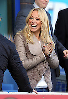 Pictured: Former Atomic Kittens singer Liz McClarnon watching the game, she had a relationship with Swansea's Lee Trundle a few years ago. Sunday 16 February 2014<br /> Re: FA Cup, Everton v Swansea City FC at Goodison Park, Liverpool, UK.
