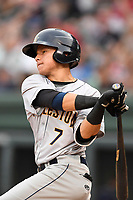 Second baseman Diego Castillo (7) of the Charleston RiverDogs bats in a game against the Greenville Drive on Thursday, July 27, 2017, at Fluor Field at the West End in Greenville, South Carolina. Charleston won, 5-2. (Tom Priddy/Four Seam Images)