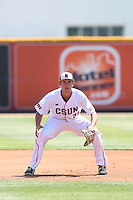 Nolan Bumstead (39) of the Cal State Northridge Matadors in the field during a game against the UC Santa Barbara Gouchos at Matador Field on April 10, 2015 in Northridge, California. UC Santa Barbara defeated Cal State Northridge, 7-4. (Larry Goren/Four Seam Images)