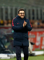 Calcio, Serie A: Inter - Roma, Milano, stadio Giuseppe Meazza (San Siro), 21 gennaio 2018.<br /> AS Roma's coach Eusebio Di Francesco gestures to his players during the Italian Serie A football match between Inter Milan and AS Roma at Giuseppe Meazza (San Siro) stadium, January 21, 2018.<br /> UPDATE IMAGES PRESS/Isabella Bonotto