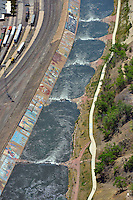 Arkansas River. Kayak park downtown Pueblo, Colorado.  Levee mural.  May 2013.  87540