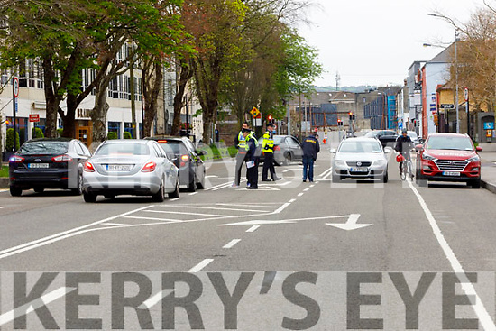 Garda checkpoint on Princess St Tralee on Easter Saturday morning.