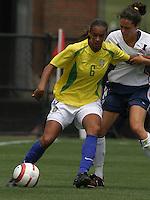 Rosana v Julie Foudy.US Women's National Team vs Brazil at Legion Field in Birmingham, Alabama.