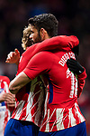 Antoine Griezmann of Atletico de Madrid celebrates his fourth goal with teammate Diego Costa during the La Liga 2017-18 match between Atletico de Madrid and CD Leganes at Wanda Metropolitano on February 28 2018 in Madrid, Spain. Photo by Diego Souto / Power Sport Images