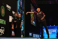 25th May 2021; Marshall Arena, Milton Keynes, Buckinghamshire, England; Professional Darts Corporation, Unibet Premier League Night 14 Milton Keynes; Nathan Aspinall in action against James Wade