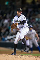 Charlotte Knights relief pitcher Zack Burdi (34) in action against the Durham Bulls at BB&T BallPark on May 15, 2017 in Charlotte, North Carolina. The Knights defeated the Bulls 6-4.  (Brian Westerholt/Four Seam Images)