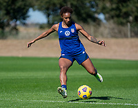 ORLANDO, FL - JANUARY 20: Crystal Dunn #19 of the USWNT passes the ball during a training session at the practice fields on January 20, 2021 in Orlando, Florida.