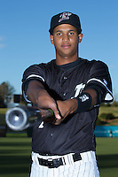 Johan Cruz (1) of the Kannapolis Intimidators poses for a photo prior to the game against the Hickory Crawdads at Kannapolis Intimidators Stadium on April 8, 2016 in Kannapolis, North Carolina.  The Crawdads defeated the Intimidators 8-2.  (Brian Westerholt/Four Seam Images)