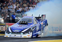 Sept. 28, 2012; Madison, IL, USA: NHRA funny car driver Robert Hight during qualifying for the Midwest Nationals at Gateway Motorsports Park. Mandatory Credit: Mark J. Rebilas-