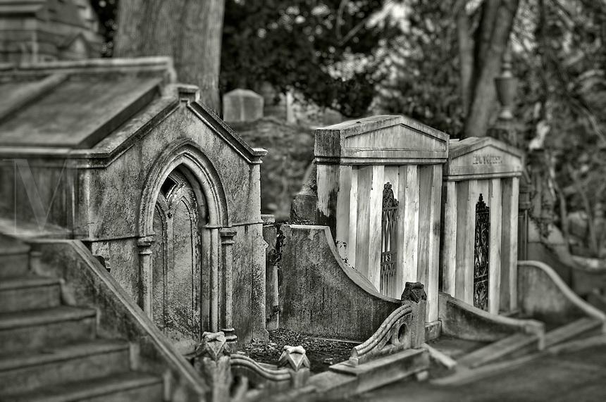 Cemetery mausoleums.