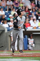 Ronnie Jebavy (36) of the Salem-Keizer Volcanoes bats during a game against the Hillsboro Hops at Ron Tonkin Field on July 26, 2015 in Hillsboro, Oregon. Hillsboro defeated Salem-Keizer, 4-3. (Larry Goren/Four Seam Images)