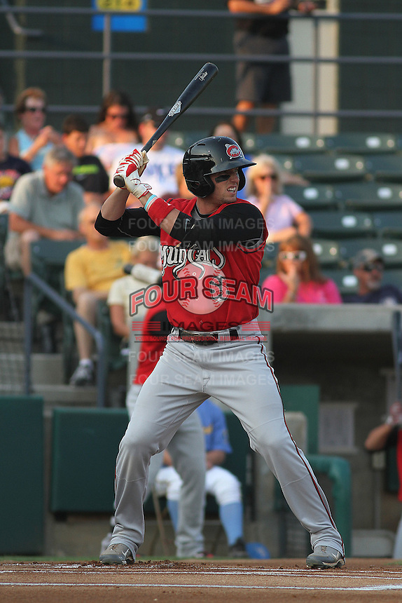 Carolina Mudcats outfielder Tyler Holt #6 at bat during a game against the Myrtle Beach Pelicans at Ticketreturn.com Field at Pelicans Park on June 30, 2012 in Myrtle Beach, South Carolina. Myrtle Beach defeated Carolina by the score of 5-4 in 11 innings. (Robert Gurganus/Four Seam Images)