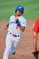 Jeremy Arocho (8) of the Ogden Raptors runs to third base against the Billings Mustangs at Lindquist Field on August 18, 2018 in Ogden, Utah. Billings defeated Ogden 6-4. (Stephen Smith/Four Seam Images)