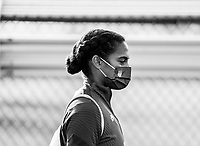 COMMERCE CITY, CO - OCTOBER 25: Naomi Girma of the USWNT enters the field at Dick's Sporting Goods training fields on October 25, 2020 in Commerce City, Colorado.