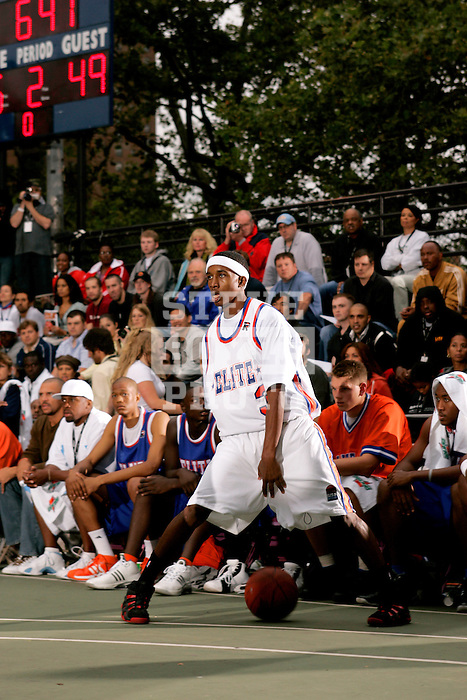 Brandon Jennings (3) dribbles during the Elite 24 Hoops Classic game on September 1, 2006 held at Rucker Park in New York, New York.  The game brought together the top 24 high school basketball players in the country regardless of class or sneaker affiliation.