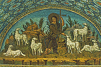 Ravenna: Mosaic--Lunette with the Good Shepherd. Mausoleum of Gallo Placidia, 5th century.